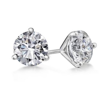 3 Prong 3.07 Ctw. Diamond Stud Earrings