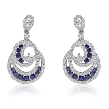 14k White Gold Flowing Sapphire and Diamond Earrings