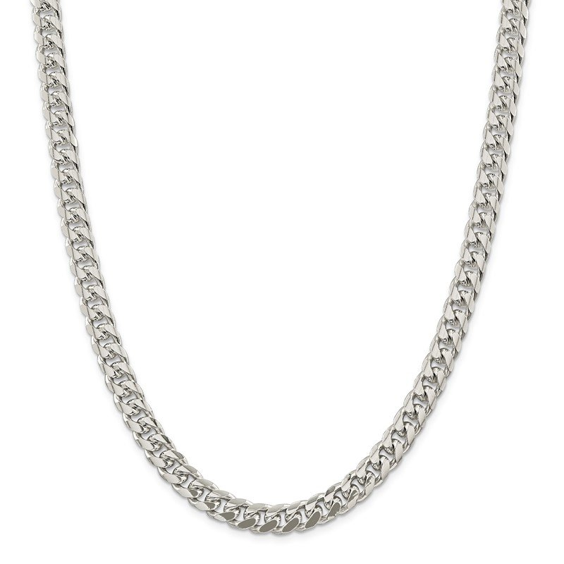 J.F. Kruse Signature Collection Sterling Silver 8.5mm Domed w/ Side D/C Curb Chain
