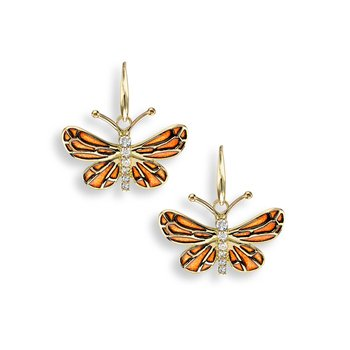 Orange Butterfly Wire Earrings.18K -Diamonds - Plique-a-Jour