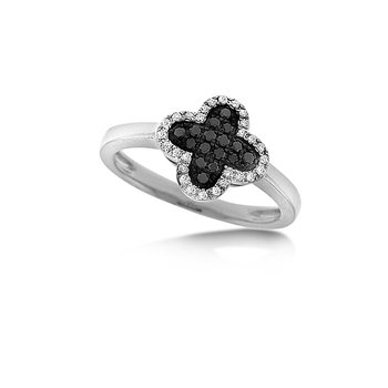 Black And White Diamond Clover Ring in 14k White Gold with 44 Diamonds weighing .20ct tw.