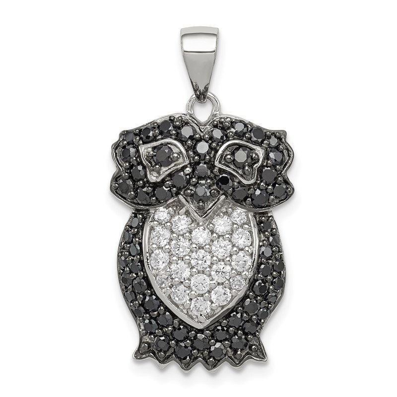 Quality Gold Sterling Silver Black & White CZ Owl Pendant