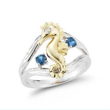 "14K Seahorse ring 3/4"" wide on top"