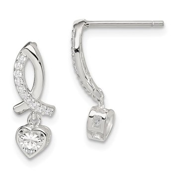 Sterling Silver CZ Ribbon with Heart Dangle Post Earrings