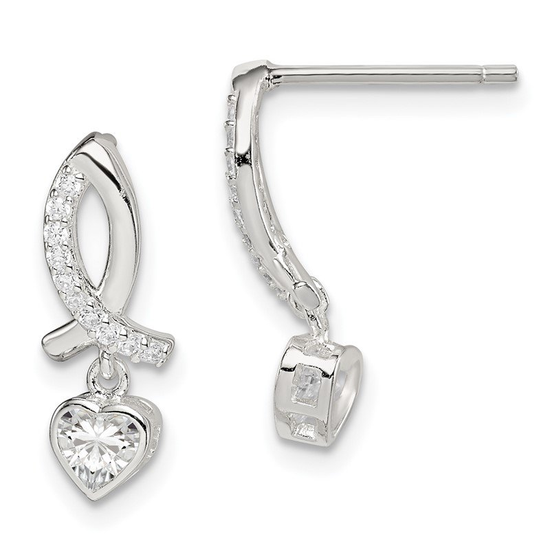 JC Sipe Essentials Sterling Silver CZ Ribbon with Heart Dangle Post Earrings