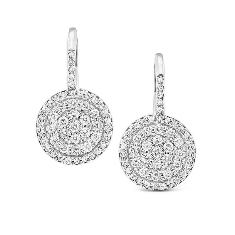 MAZZARESE Fashion Diamond Classic Disc Earring in 14K White Gold with 100 Diamonds Weighings  .54ct tw