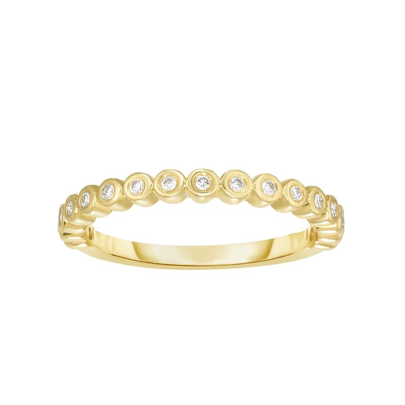 Royal Chain 14K Gold .15ct Diamond Bezel Set Stackable Ring