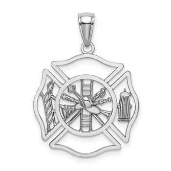 14K White Gold Fireman Shield Charm