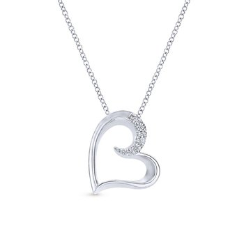 925 Sterling Silver White Sapphire Open Heart Pendant Necklace
