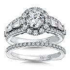 Diamond Halo Engagement Ring Mounting in 14K White Gold with Platinum Head (1.06 ct. tw.)