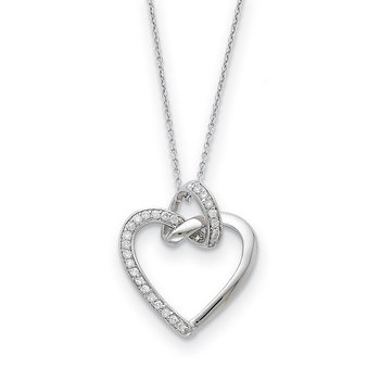Sterling Silver CZ Friendship Promises 18in Necklace