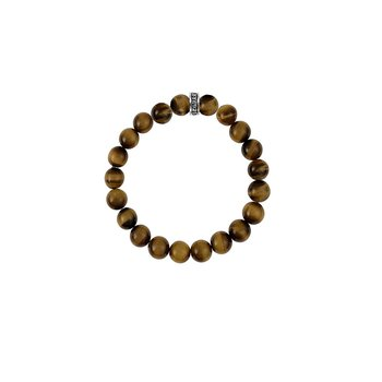 12Mm Red Tiger Eye Plain Beaded Bracelet W/ Logo Ring