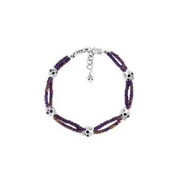 Purple Square Hematite Double Strand Bracelet With Skulls