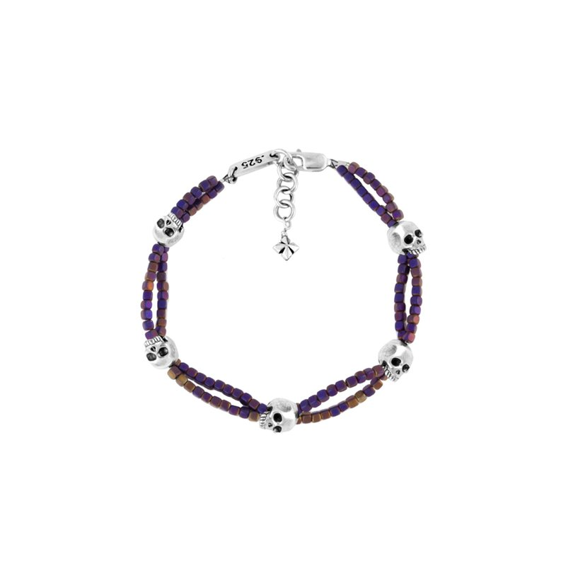 King Baby Purple Square Hematite Double Strand Bracelet With Skulls