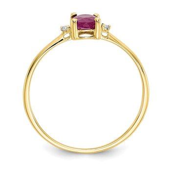 10k Polished Geniune Diamond & Ruby Birthstone Ring