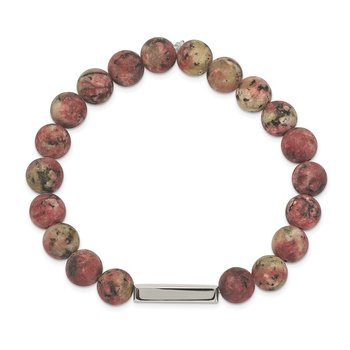 Stainless Steel Polished ID Plate Rhodochrosite Bead Stretch Bracelet