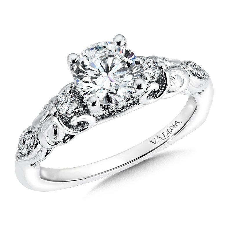 Valina Bridals Mounting with side stones .20 ct. tw., 1 ct. round center.