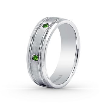Tsavorite Green Garnet Mens Wedding Band 7mm