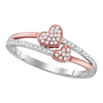 10kt White Gold Womens Round Diamond Rose-tone Double Heart Love Ring 1/6 Cttw