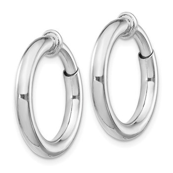 Sterling Silver RH-plated 3x15mm Non-Pierced Hoop Earrings