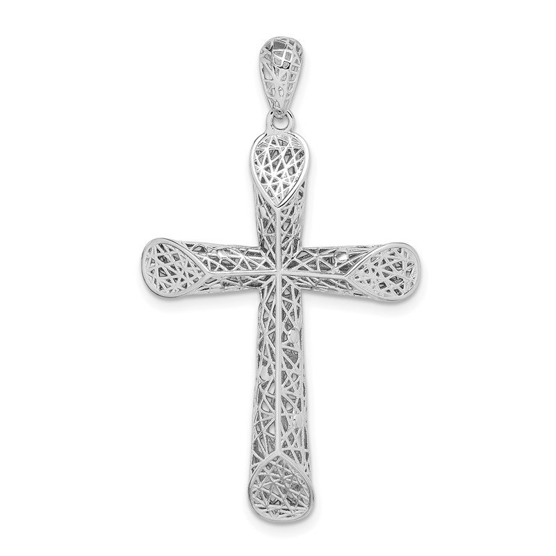 Quality Gold Sterling Silver Rhodium-plated Polished Angled Edge Hollow Cross Pendant