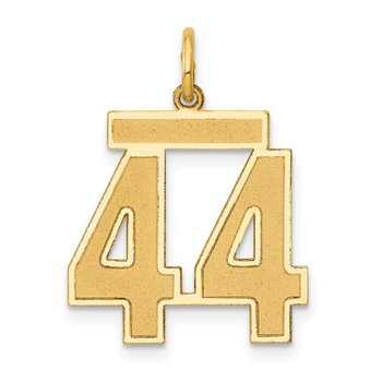 14k Medium Satin Number 44 Charm