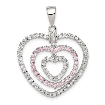 Sterling Silver Rhodium-plated Polished Pink/White CZ Hearts Pendant