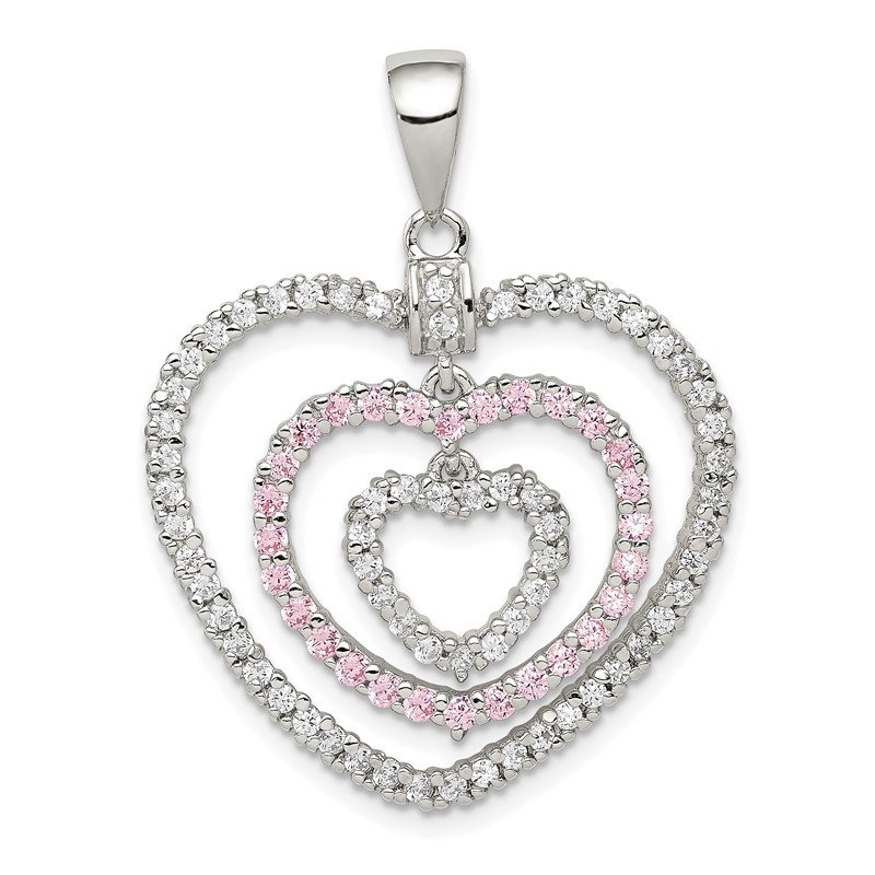 Quality Gold Sterling Silver Rhodium-plated Polished Pink/White CZ Hearts Pendant