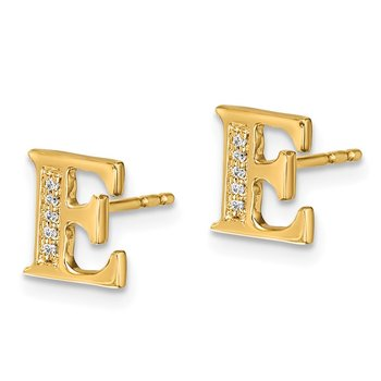 14k White Gold Diamond Initial E Earrings