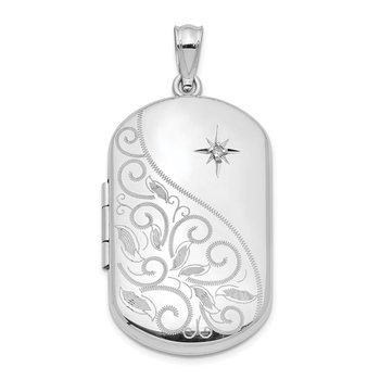Sterling Silver 30mm Diamond Polished Scrolled Rectangular Locket