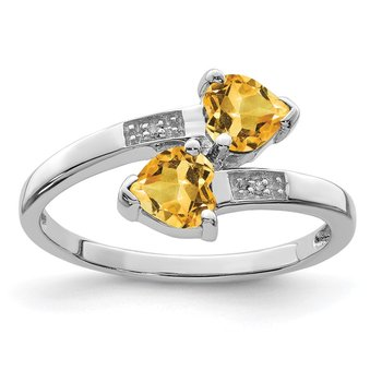 Sterling Silver Rhodium Citrine & Diamond Heart Ring
