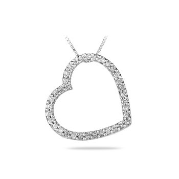 14K WG Diamond Fashion Heart Shape Pendant