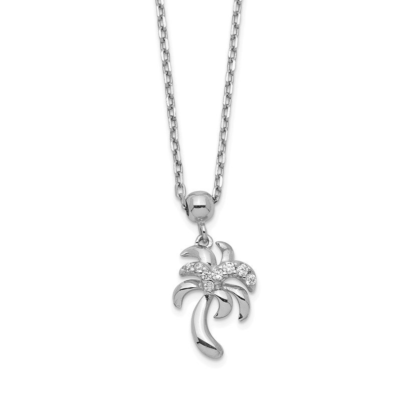 Quality Gold Sterling Silver Rhodium-plated CZ Palm Tree w/2 IN Ext Necklace