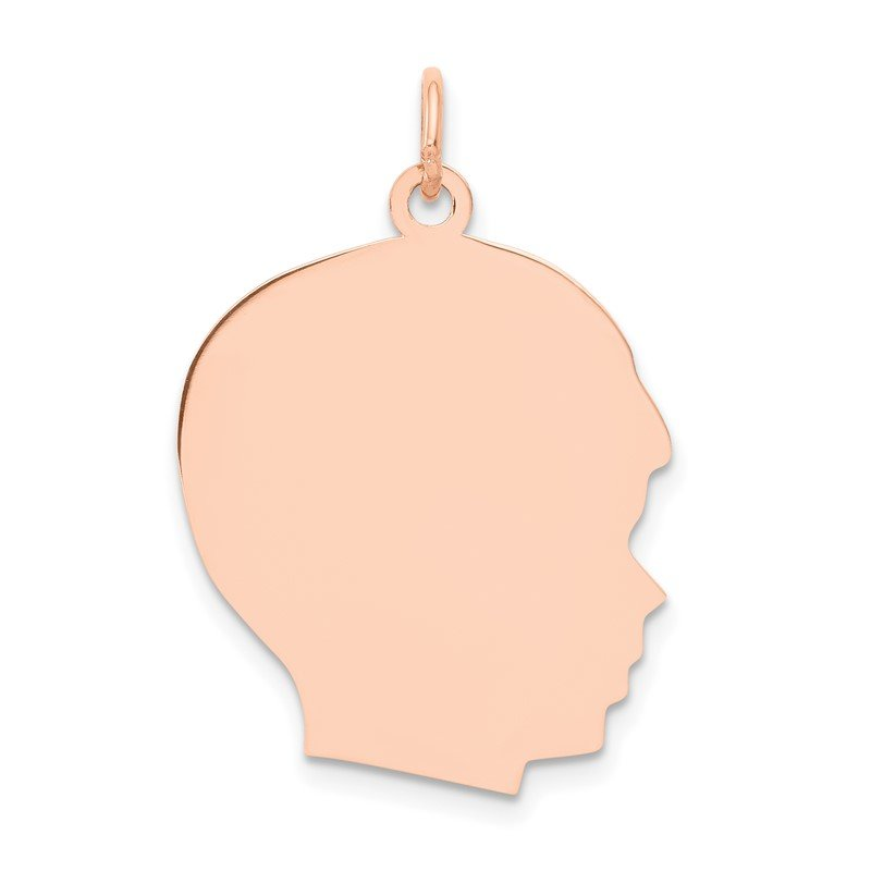Quality Gold 14k Rose Plain Large.013 Gauge Facing Right Engraveable Boy Head Charm