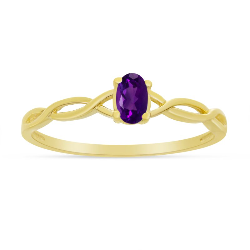 Color Merchants 14k Yellow Gold Oval Amethyst Ring
