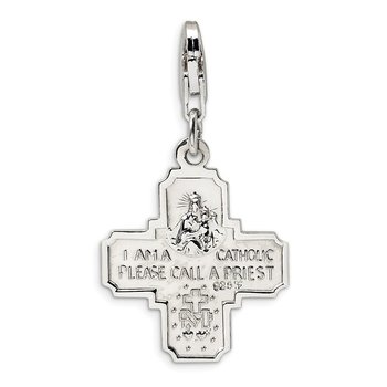 Sterling Silver Amore La Vita Rhodium-plated Polished 4-way Medal Charm