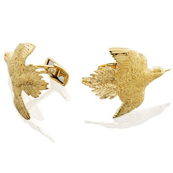 Dove Cufflinks - Pair - 14k Gold