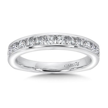 Channel-set Diamond and 14K White Gold Wedding Ring