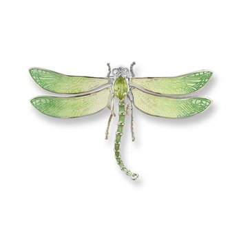 Green Dragonfly Brooch-Pendant.Sterling Silver-White Sapphires and Peridot
