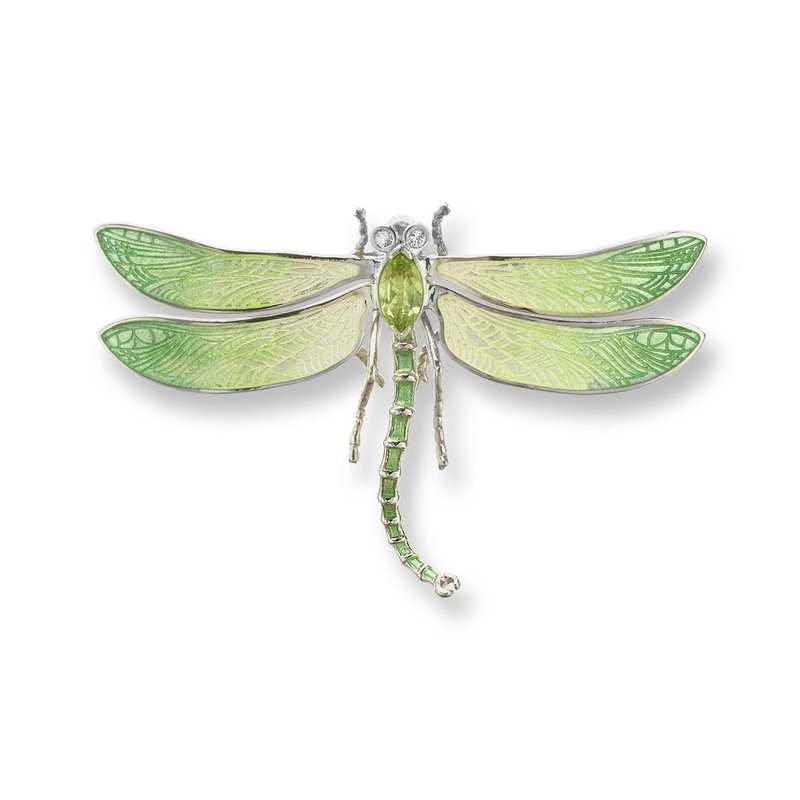Nicole Barr Designs Green Dragonfly Brooch-Pendant.Sterling Silver-White Sapphires and Peridot