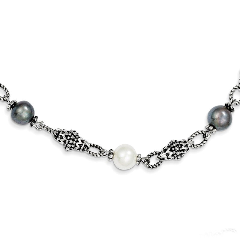 Quality Gold Sterling Silver FW Cultured Black & White Pearl Necklace