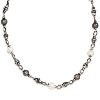 Sterling Silver FW Cultured Black & White Pearl Necklace