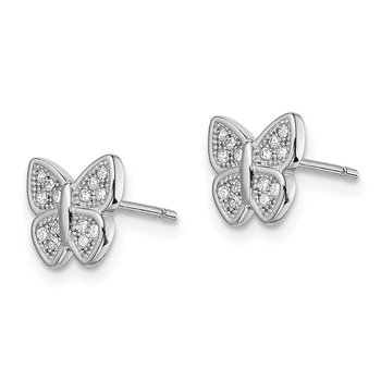 Sterling Silver Rhodium-plated CZ Butterfly Post Earrings