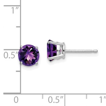 14k White Gold 6mm Amethyst Checker Earrings