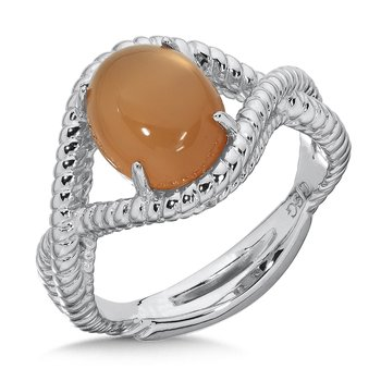 Sterling Silver Orange  Moonstone Essentials Ring