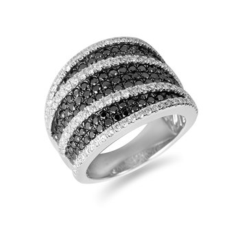 14K WG Black & White Dia Fashion Ring