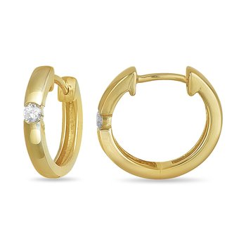 10K YG and diamond Hoops Solitaire earring 0.15 cts.