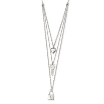 Sterling Silver Lock, Heart and Key Multi-Strand 16in Necklace