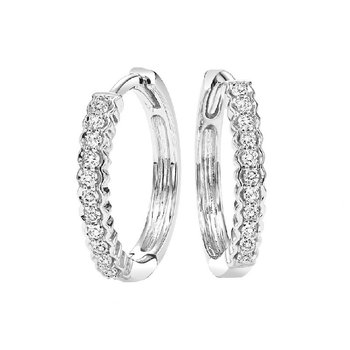 10K White Gold Mixable Prong Diamond Earrings 1/7CT