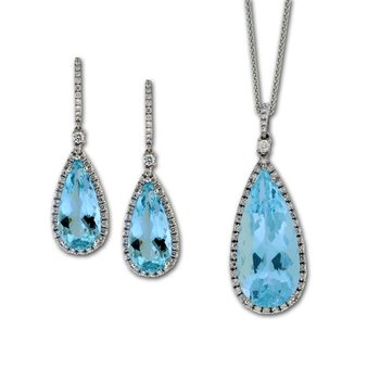 Aquamarine & Diamond Ear Dangles